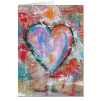 Reckless Heart Abstract Art Painting Pink Red Blue Card