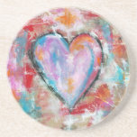 Reckless Heart Abstract Art Painting Pink Red Blue Drink Coaster