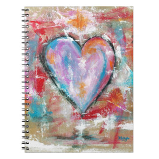 Reckless Heart Abstract Art Painting Pink Red Blue Notebook