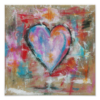 Reckless Heart Abstract Art Painting Pink Red Blue Poster