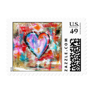 Reckless Heart Abstract Art Painting Pink Red Blue Stamp