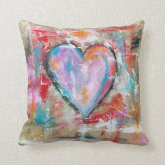 Reckless Heart Abstract Art Painting Pink Red Blue Throw Pillow