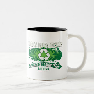 Reclaim, Recharge and Recycle Two-Tone Coffee Mug