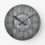 Reclaimed Wood Farmhouse Black Roman Numerals Round Clock