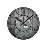 Reclaimed Wood Farmhouse Black Roman Numerals Round Clock