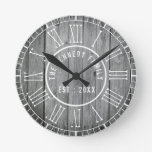 Reclaimed Wood Farmhouse White Roman Numerals Round Clock