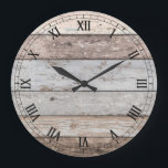 "Reclaimed Wood Look Trendy Large Clock<br><div class=""desc"">Decorative reclaimed old wood look round wall clock. Pick from two sizes and click on &quot;customize it&quot; if you&#39;d like to change the image sizes or add text. 