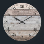 """Reclaimed Wood Look Trendy Large Clock<br><div class=""""desc"""">Decorative reclaimed old wood look round wall clock. Pick from two sizes and click on &quot;customize it&quot; if you&#39;d like to change the image sizes or add text.  This clock is sure to enhance any decor and makes an awesome gift.</div>"""