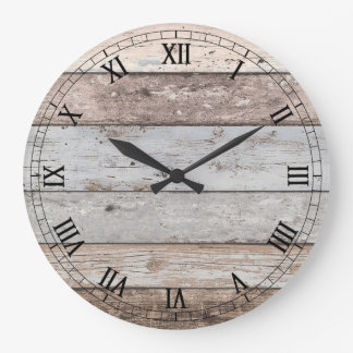 Reclaimed Wood Look Trendy Large Clock