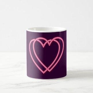 Reclamo de neón neon sign corazones hearts taza de café