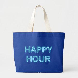 Reclamo de neón neon sign Happy Hour Bolsa Tela Grande