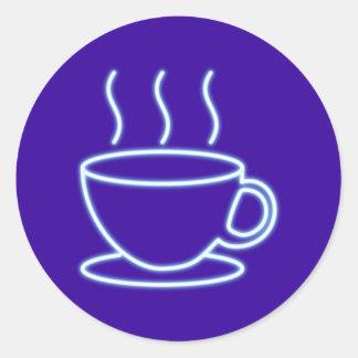 Reclamo de neón neon sign Kaffeetasse coffee cup Pegatina Redonda