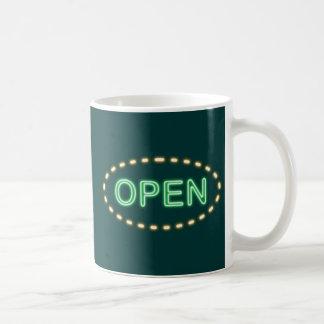 Reclamo de neón neon sign opem taza de café