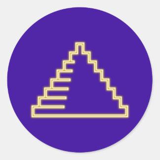 Reclamo de neón neon sign pirámide pyramid pegatina redonda