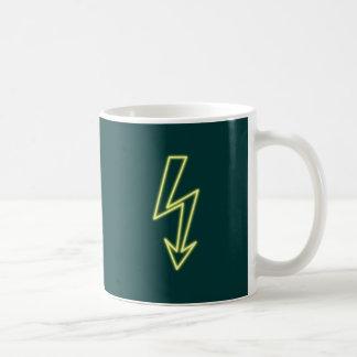 Reclamo de neón neon sign rayo flasheas taza de café