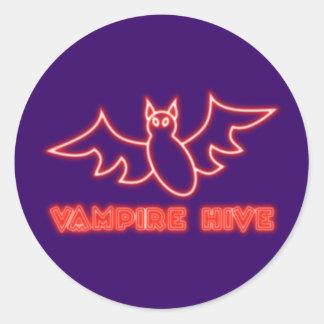 Reclamo de neón neon sign vampiros Hive Pegatina Redonda