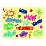 Reclamos cómicos multicolores tarjeta postal