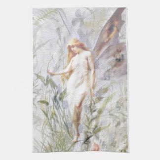 Reclinación - ángel con Lillies Toalla De Cocina