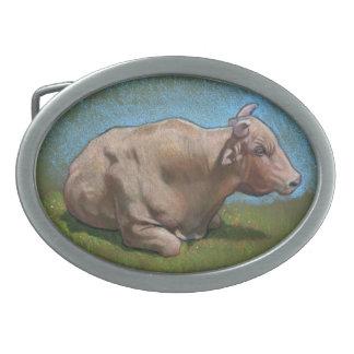 Reclinación de Bull: Dibujo de lápiz original del  Hebillas Cinturón Ovales