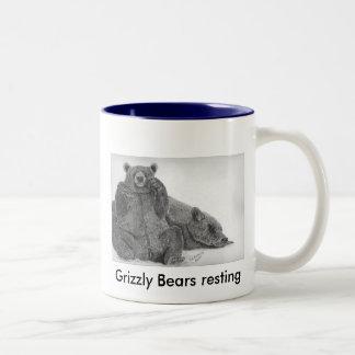 Reclinación de los osos grizzly tazas