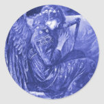 Reclinación del ángel etiqueta redonda