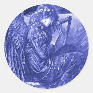 Reclinación del ángel pegatina redonda