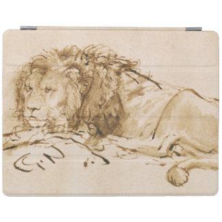 Reclinación del león (pluma y tinta en el papel) cubierta de iPad
