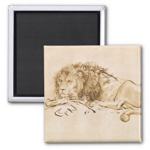 Reclinación del león (pluma y tinta en el papel) iman de nevera