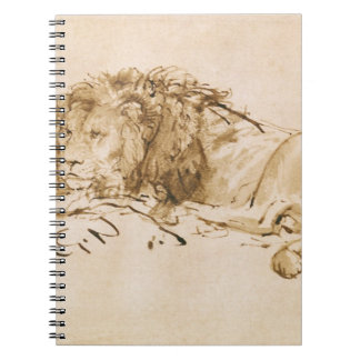 Reclinación del león (pluma y tinta en el papel) libreta