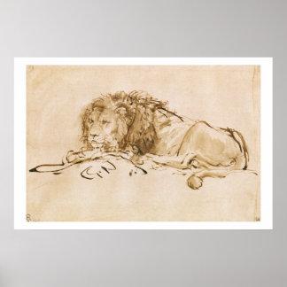 Reclinación del león pluma y tinta en el papel posters