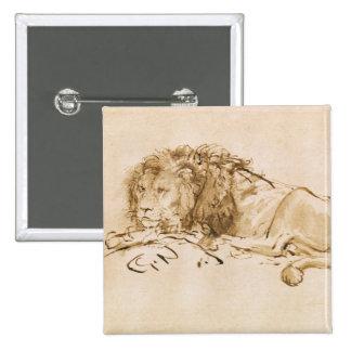 Reclinación del león (pluma y tinta en el papel) pin cuadrado