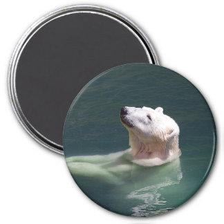 Reclinación del oso polar imán redondo 7 cm