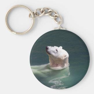 Reclinación del oso polar llavero redondo tipo pin