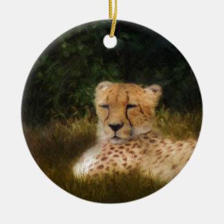Reclining Cheetah at Fossil Rim Wildlife Center Ceramic Ornament