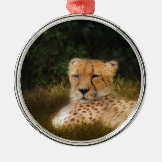 Reclining Cheetah at Fossil Rim Wildlife Center Metal Ornament