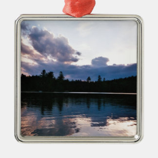 Reclining Clouds Square Metal Christmas Ornament
