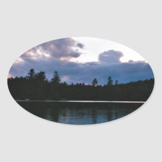 Reclining Clouds Oval Stickers