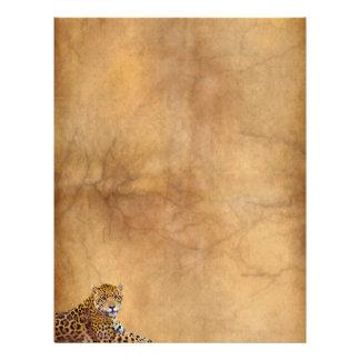 Reclining Jaguar Big Cat on Aged Parchment effect Letterhead