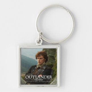 Reclining Jamie Fraser photograph Silver-Colored Square Keychain