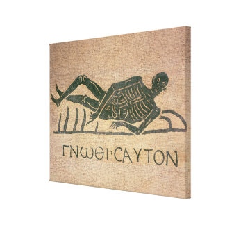 Reclining skeleton with the caption 'Know Canvas Print