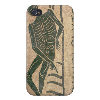 Reclining skeleton with the caption 'Know Cover For iPhone 4