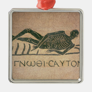 Reclining skeleton with the caption 'Know Metal Ornament