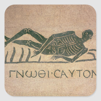 Reclining skeleton with the caption Know Square Sticker