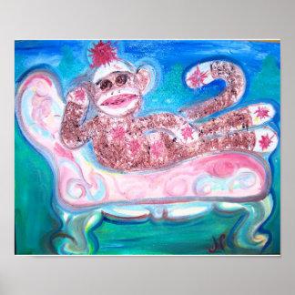 Reclining Sock Monkey Poster