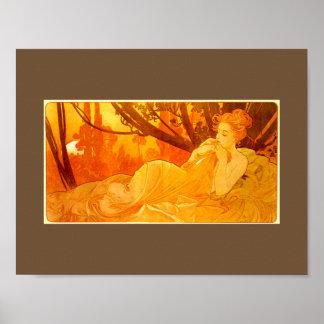 Reclining Woman Art Nouveau Poster
