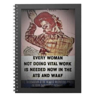 Reclutamiento de la mujer para el ATS y WAAF Libro De Apuntes Con Espiral