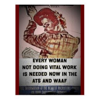 Reclutamiento de la mujer para el ATS y WAAF Tarjetas Postales