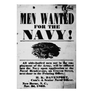 Reclutamiento naval confederado póster