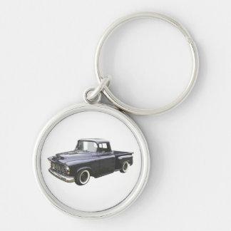 Recogida 1956 de Chevrolet del negro Llavero Redondo Plateado