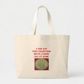 recogida de moneda bolsas lienzo